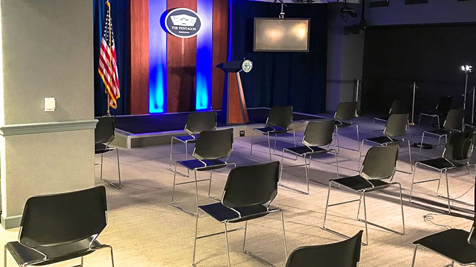 Pentagon enacts 'social distancing' rules for reporters by adding space between chairs at presser