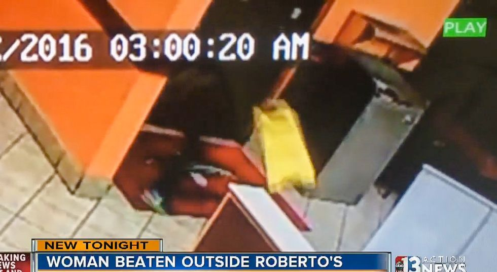 WATCH: Man calmly orders food after yelling slurs and beating woman bloody with wet floor sign