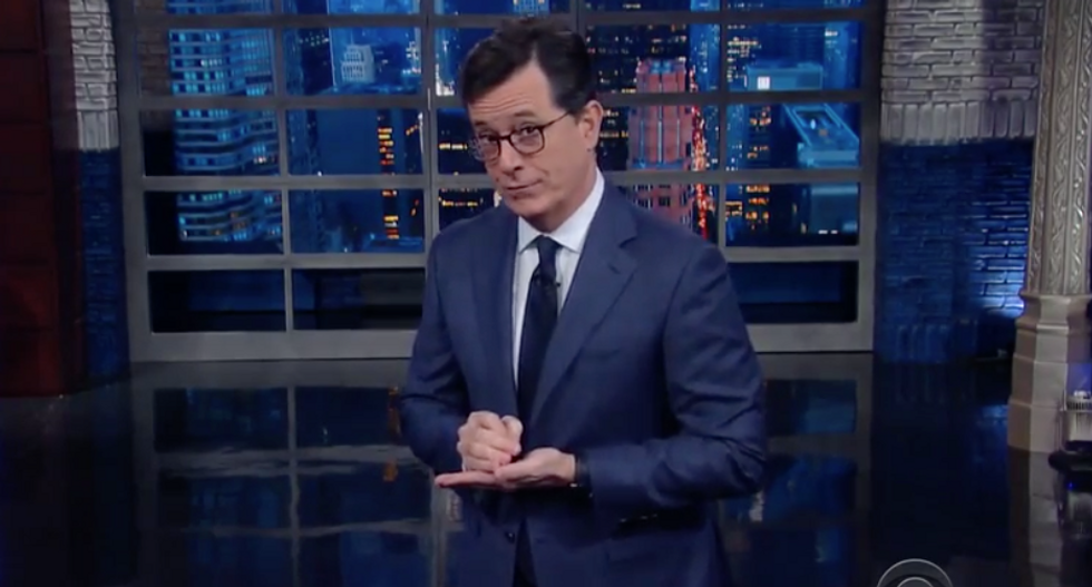 'One fancy dinner gives him the right to screw you': Colbert ridicules Romney over Trump's public rejection