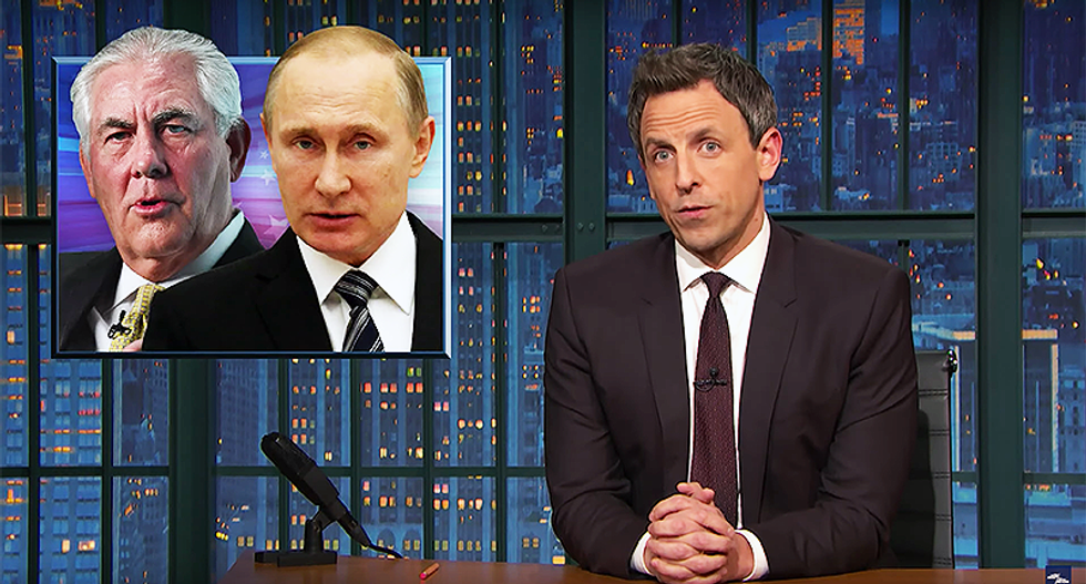 Seth Meyers shreds Trump's pick for State: 'When they drained that swamp there was oil at the bottom'