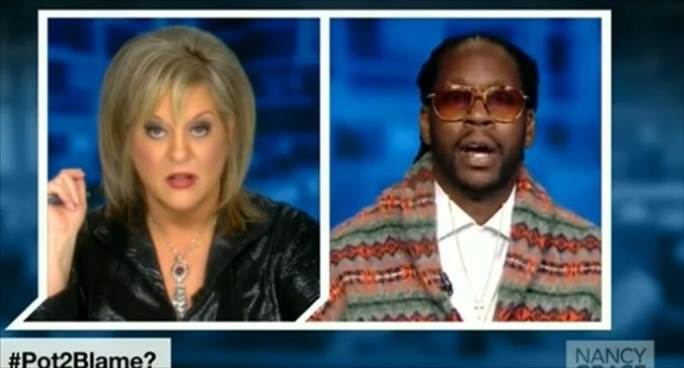 Nancy Grace gets smoked trying to force her reefer madness on rapper '2 Chainz'