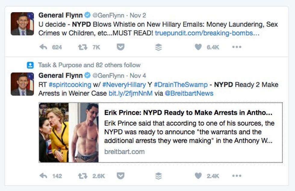 Lt. Gen. Michael Flynn's deleted Tweets (Photo: Screen capture)