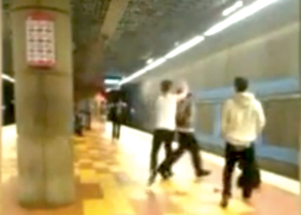 Suspect filmed attacking black homeless man in Hollywood Metro station as bystanders do nothing