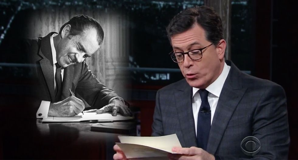 Watch Stephen Colbert's dramatic reading of Nixon letters commending Trump for 'grabbing some p*ssy'