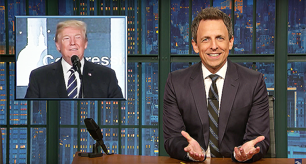 Seth Meyers: 'Crazy sh*t happens so fast in this presidency sometimes I feel like I'm binge-watching it'