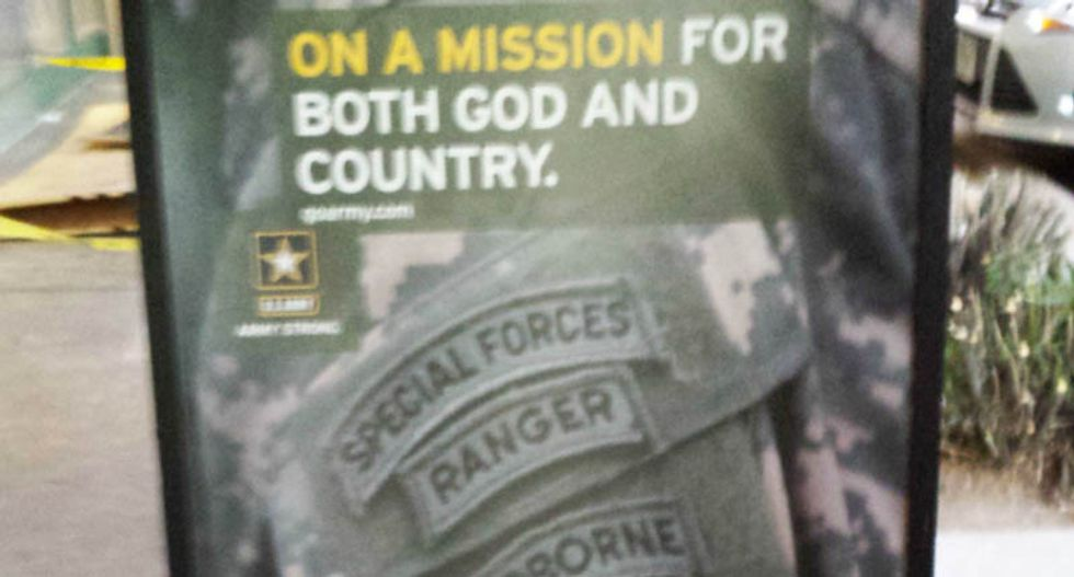 Complaints force Army to remove unauthorized 'On a mission for God' poster from recruiters office