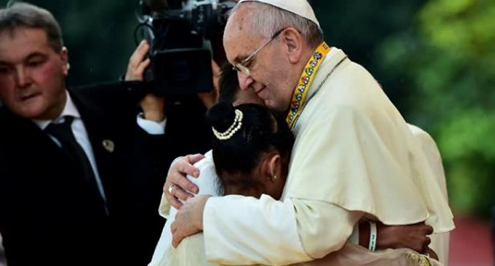 Weeping girl challenges Pope Francis: Why does God allow child prostitution to happen?