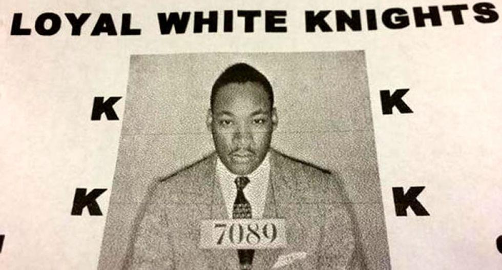 KKK celebrates Martin Luther King Jr. holiday by distributing flyers bearing his mugshot
