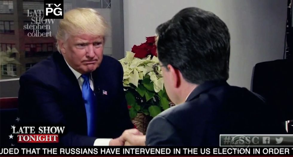 Watch Stephen Colbert's hilarious -- and fake -- interview with President-elect Trump