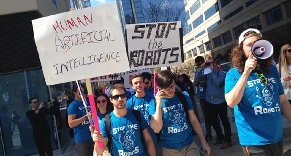 Anti-robot protesters descend upon SXSW: 'It's about morality in computing'