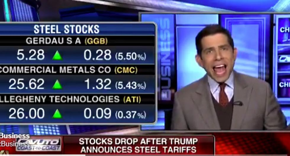 Watch this Fox contributor freak out as Trump sends the Dow plunging with steep new tariffs