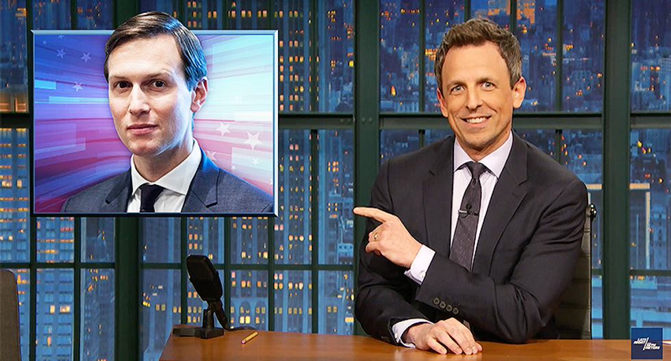 Seth Meyers hilariously blasts 'cartoonishly corrupt' Jared Kushner as 'the ghost of a boy Trump killed' with a golf ball
