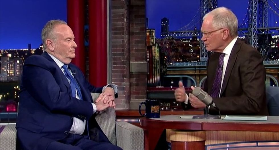Bill O'Reilly tells David Letterman: I've never 'fibbed' on the air 'that I know of'