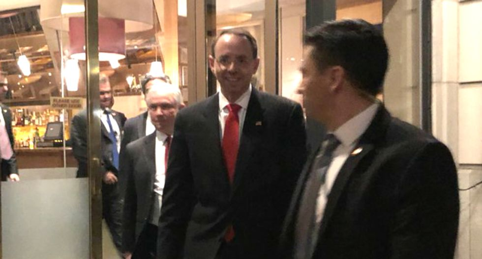 'Show of solidarity': Sessions dines with deputy AG Rod Rosenstein hours after Trump called his AG 'disgraceful'