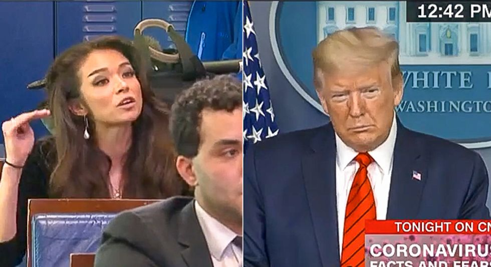 Twitter burns down 'sycophant' OANN reporter after she asks Trump if 'Chinese food' is racist