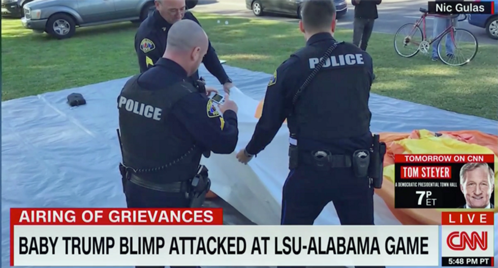 'Baby Trump Blimp is no more': CNN reports the iconic protest prop was knifed to death in Alabama