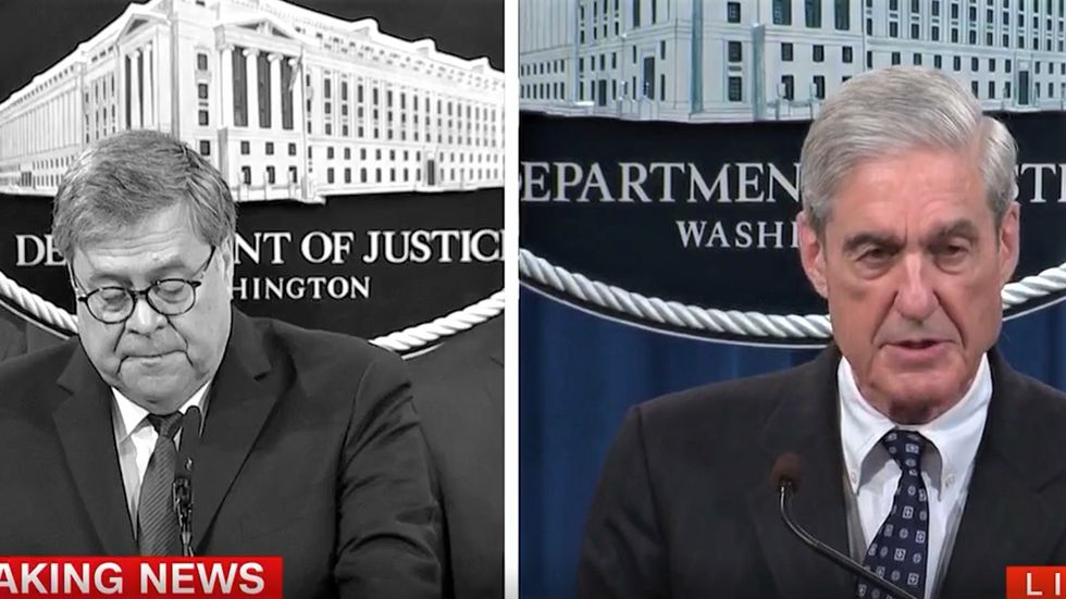 Devastating side-by-side comparison of Barr and Mueller's statements about Russia probe looks very bad for Trump