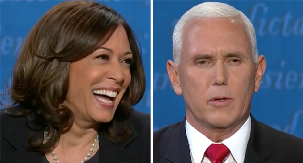 Kamala Harris just laughs after Mike Pence interrupted her: 'Mr. Vice President, I'm speaking'