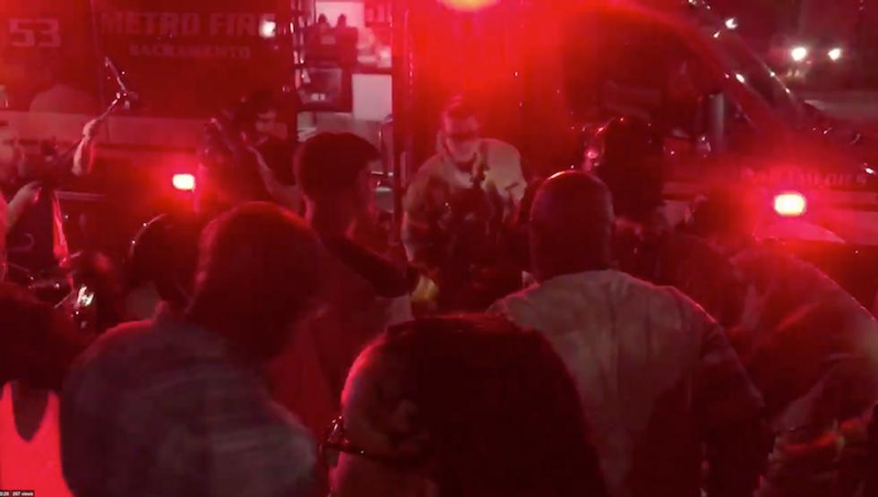 Watch: Sacramento deputy hits protester at Stephon Clark rally