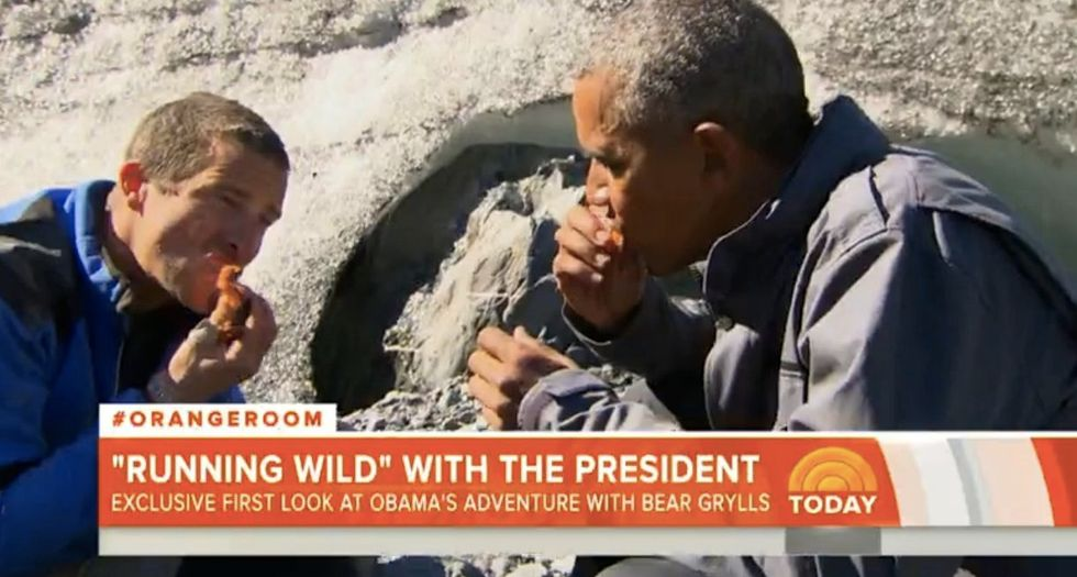 'That's tasty': Obama has piece of bear's dinner during Alaska reality show appearance