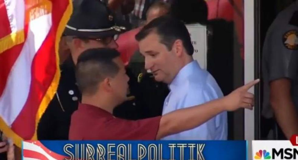 Ted Cruz 'incredulous' as Mike Huckabee aide blocks him from media at Kim Davis rally