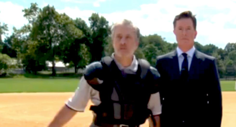 Jon Stewart makes cameo in Stephen Colbert's Star Spangled 'Late Show' debut opener