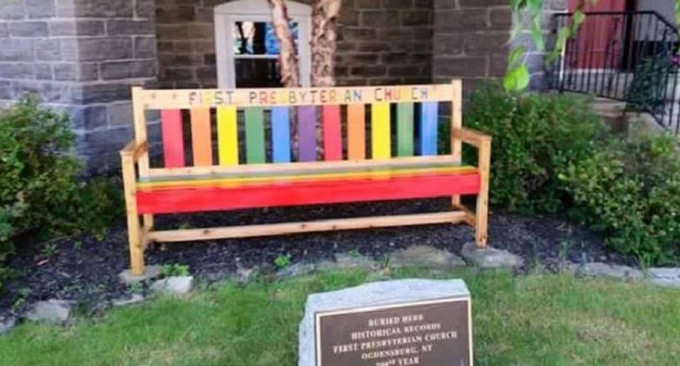New York man burns LGBT-welcoming rainbow bench outside church to 'send it back to hell'
