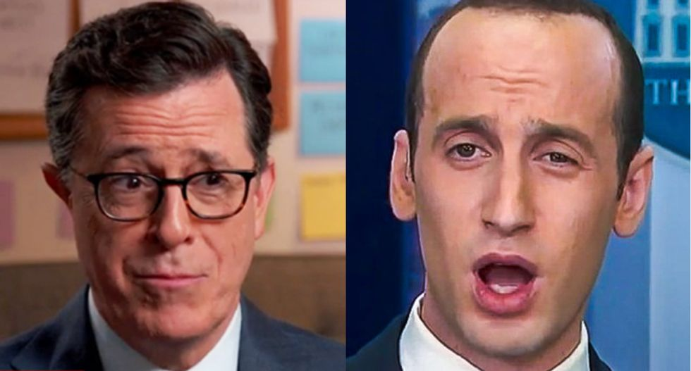 Watch: Stephen Colbert hilariously trolls Stephen Miller by calling his bluff to appear 'anytime, anywhere'