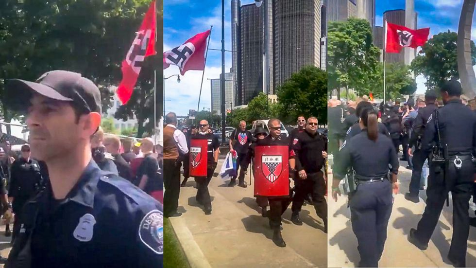 'Our police are protecting Nazis': Detroit cops criticized for 'marching' with Nazis at Pride event