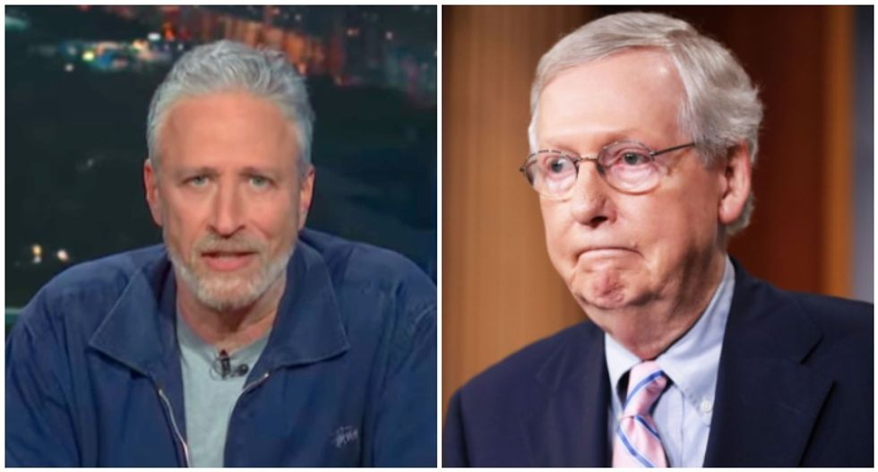 Jon Stewart shames 'turtle' Mitch McConnell for 'slow-walking' 9/11 relief: 'I know your species isn't known for moving quickly'