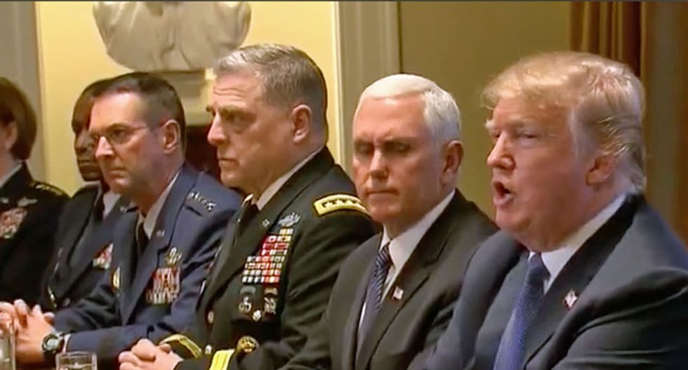 'Extraordinarily uncomfortable': CNN rolls cringeworthy close-up of Trump's generals during his anti-FBI rant