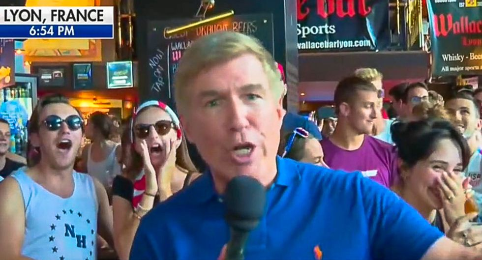 Sports bar patrons ruin Fox News segment by loudly chanting 'F*ck Trump' after US wins World Cup