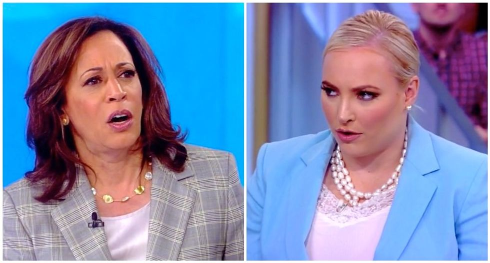 Smile drains from Kamala Harris' face as Meghan McCain butchers her position on the border — and then she pounces