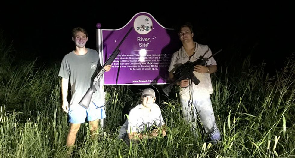 Three Mississippi frat bros who posed with guns in front of a bullet-riddled Emmett Till memorial face potential civil rights violation