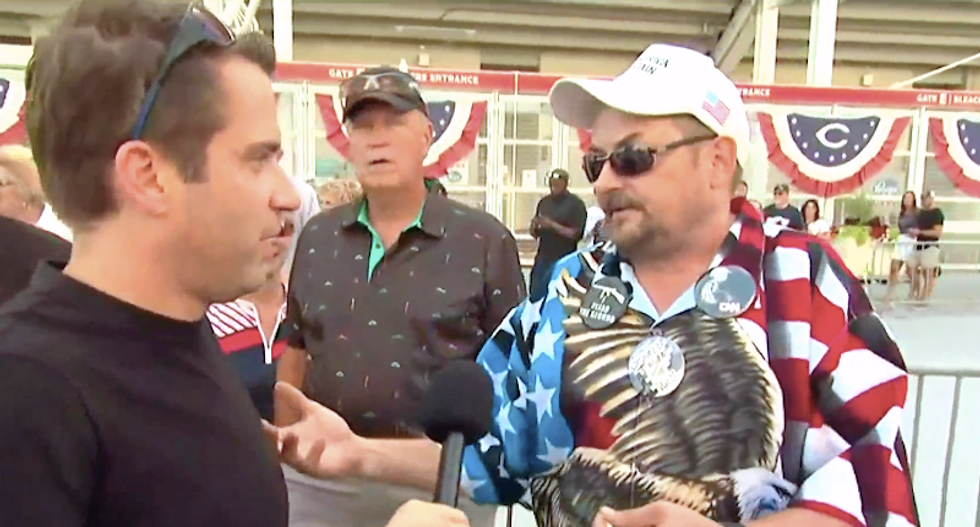 Trump supporter instantly wilts after reporter confronts him for telling young protester to shoot herself