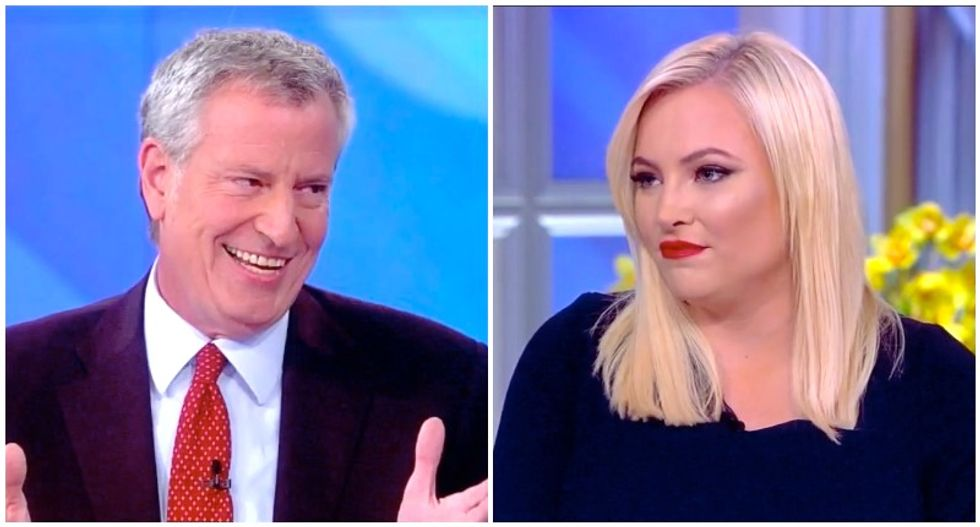 The View's audience howls in laughter after Bill de Blasio easily brushes back Meghan McCain's attack