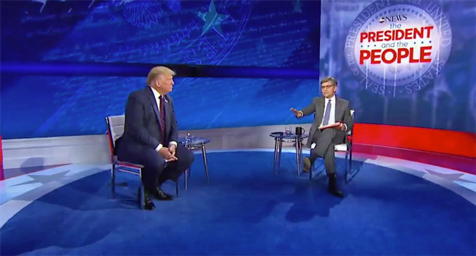 Watch Stephanopoulos shut down Trump for lying during ABC News town hall in Philadelphia