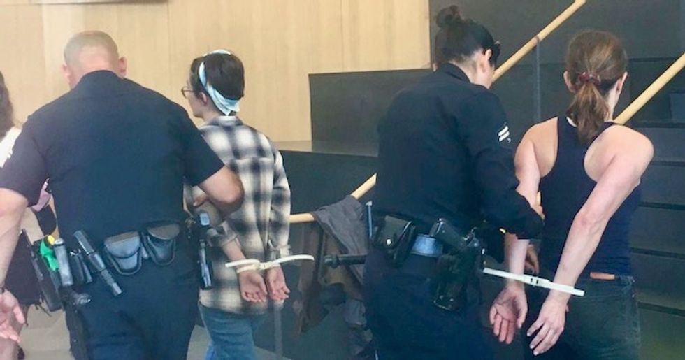 Jewish protesters arrested at LA office of private prison company that runs ICE 'concentration camps'