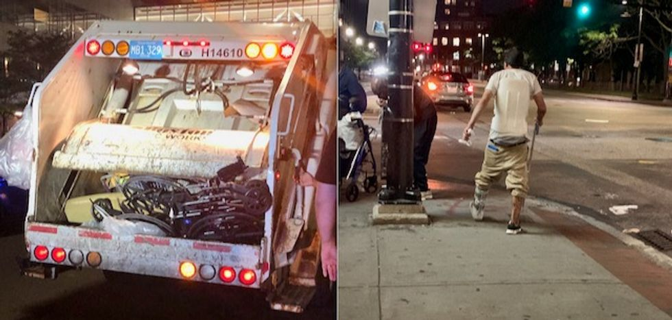 'Heartbreaking' scene on Boston streets as police destroy wheelchairs belonging to homeless residents