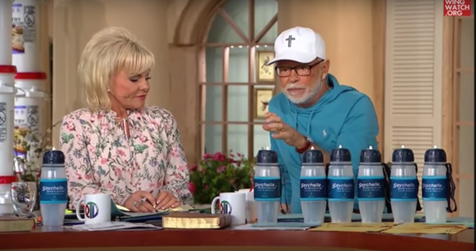 Televangelist wants to equip Christians for the end times with a pack of $150 'extreme survival' water bottles