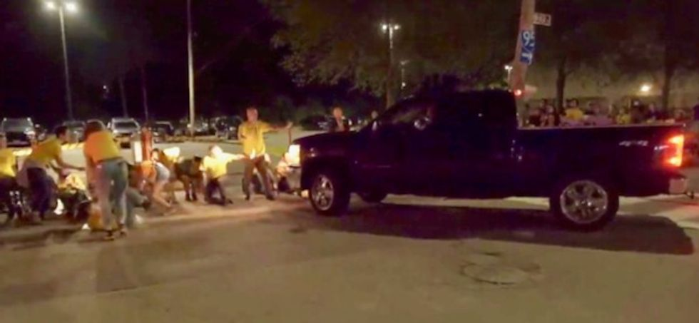 Viral video shows pickup truck ramming crowd protesting ICE – they say a guard was driving, cops did nothing