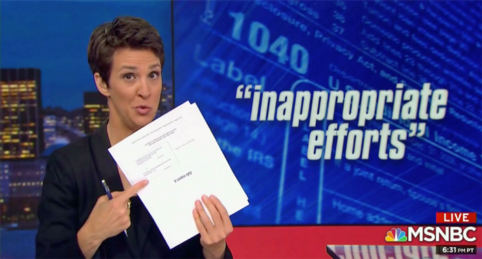 Maddow walks through existence of a 'whistleblower' alleging the IRS is mishandling Trump's taxes
