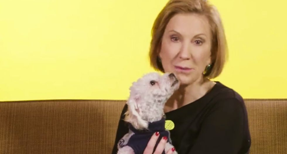 Not even a room full of puppies can make Carly Fiorina likable