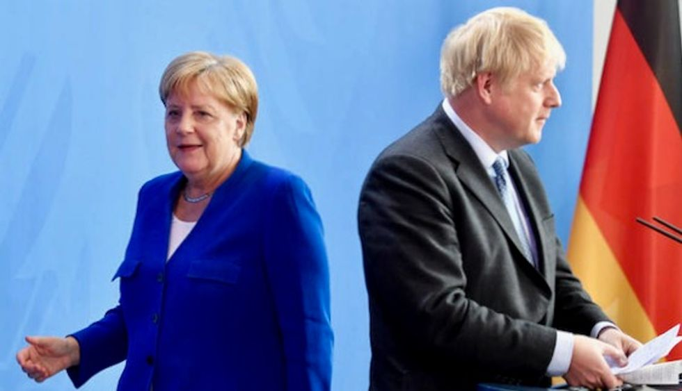 Boris Johnson rejects 'backstop' Brexit deal at meeting with Merkel