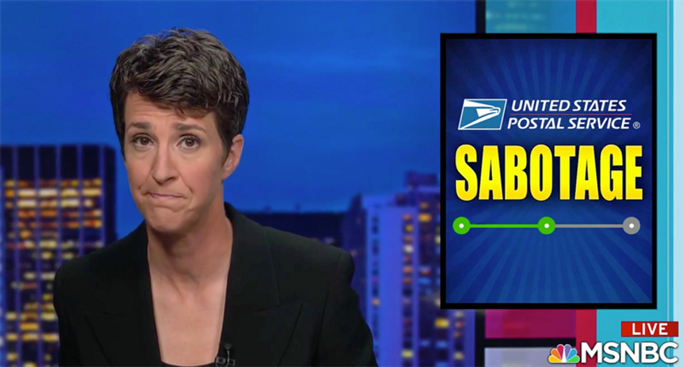 Maddow reports shocking details of the 'sabotage' of USPS by Trump administration: 'Worse by the hour'