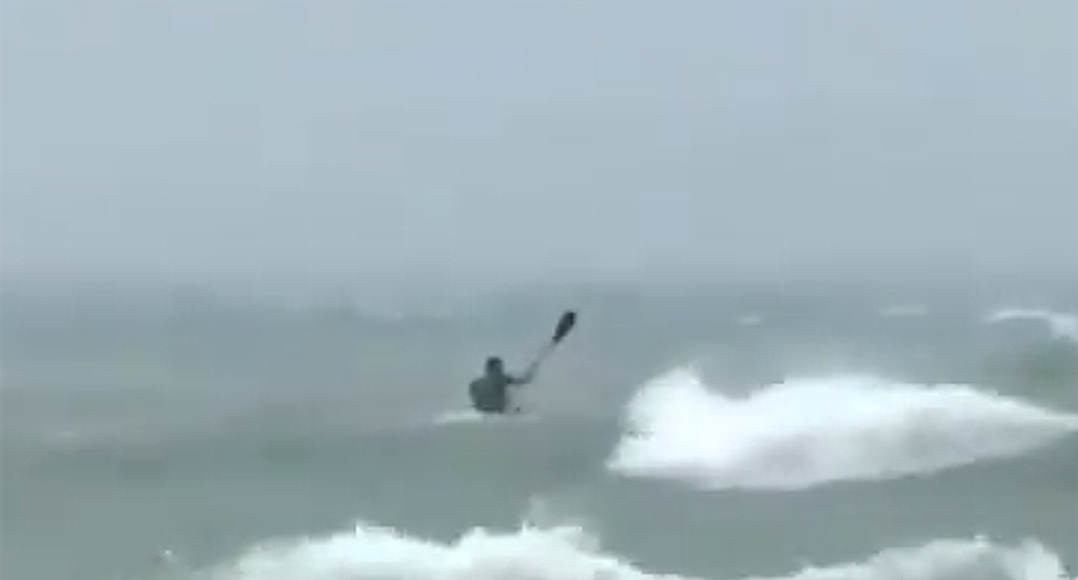 WATCH: 'Moron' takes off in kayak as Hurricane Dorian makes landfall