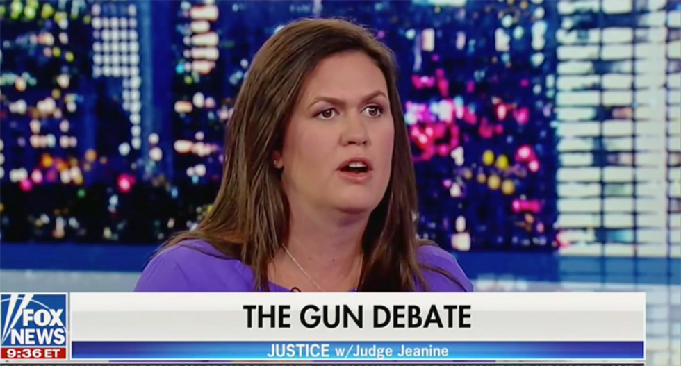 Sarah Huckabee Sanders says the solution to mass shootings is to stop kicking her out of restaurants