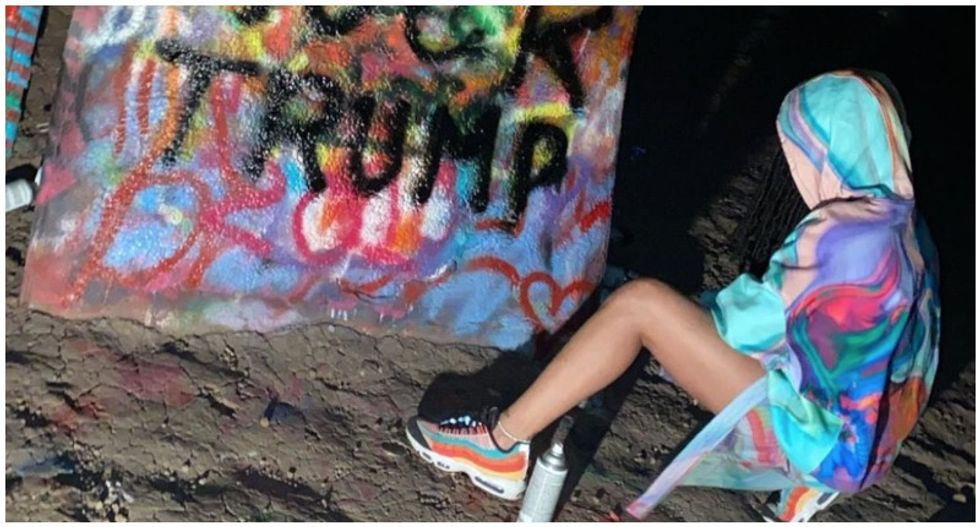 Trump supporters fume over Rihanna's Cadillac Ranch art in Texas – and cover it up with QAnon messages
