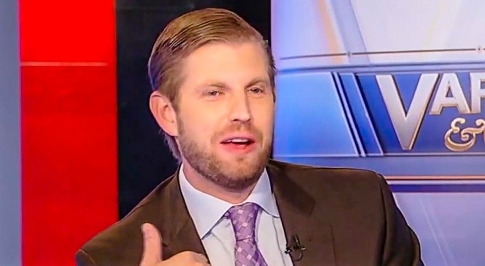 Eric Trump mocked for tweeting image of Ghislaine Maxwell with Clintons — when his dad hung out with her repeatedly
