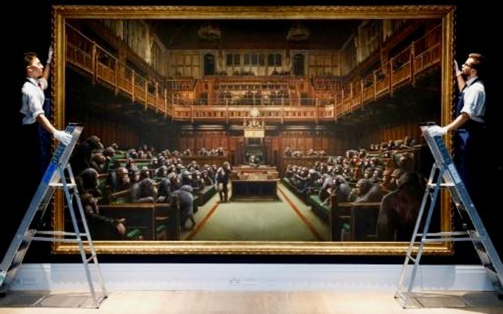 Banksy's chimps as MPs painting 'Devolved Parliament' goes under the hammer